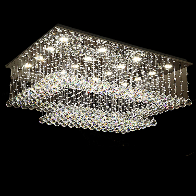Charming New Design Rectangular Crystal Ceiling Chandelier Lighting Modern Living  Room Lights AC110 240V LED Light Fixtures In Chandeliers From Lights U0026  Lighting On ...