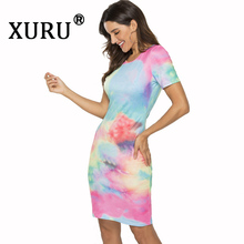 XURU Summer New Women's Print Tie Dye Dress Fashion Casual Skinny Sexy Bag Hip Dress tie dye racerback dress