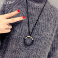 Simple Metal Round Circle Pendant Necklaces Sweater Chian Leather Long Necklaces For Women Collares Largos Clothing Accessories
