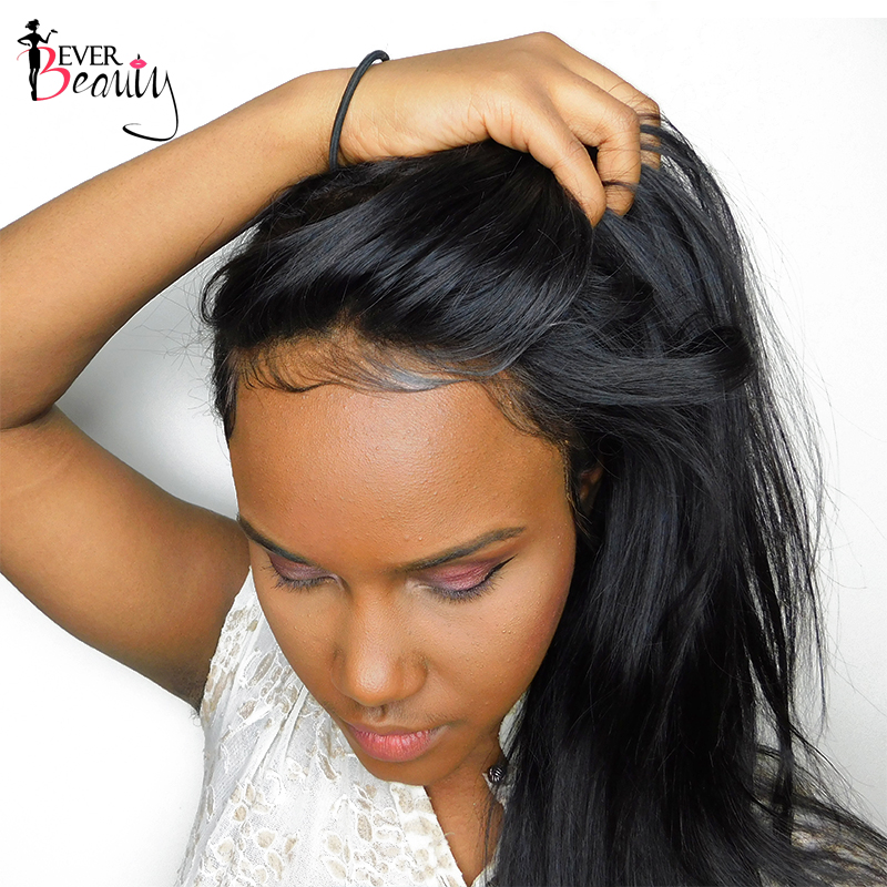 Pre Plucked 360 Snörning Frontal Closure With Baby Hair Straight Brasilian 360 Snörning Frontal Hair Natural Black Remy Ever Beauty