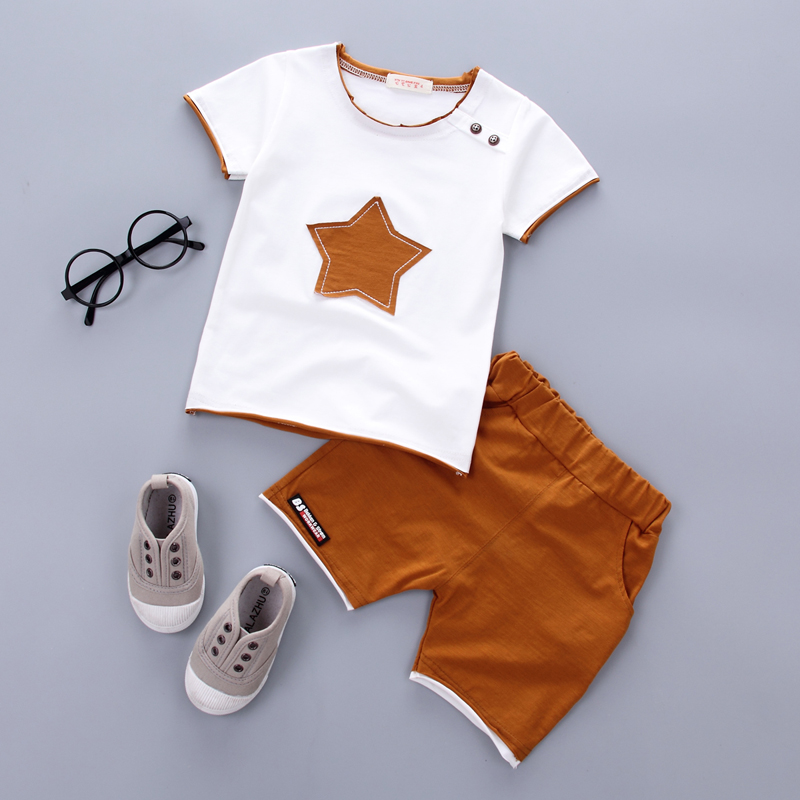 Baby boys clothing set 2017 Summer new fashion100% cotton with five-star print for 1 2 3 Years old infant clothes 2pcs set A075