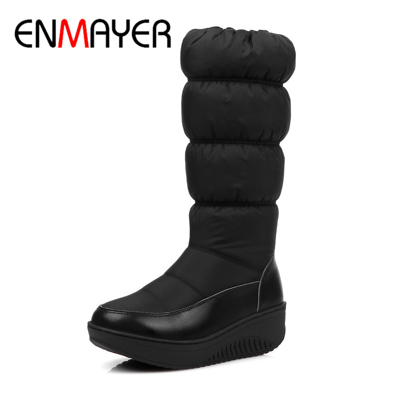 ENMAYER Women Fashion Boots Warm Winter Boots LargeSize 34-44 Black Flats Shoes Woman Mid-calf Boots Platform Zipper Shoes stylish women s mid calf boots with solid color and fringe design