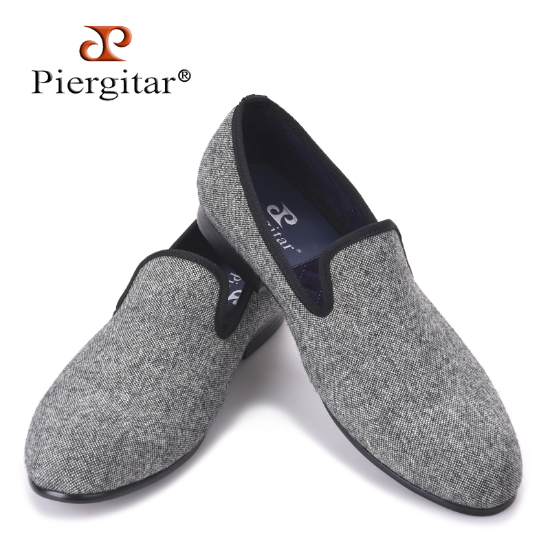 Piergitar Classic Handmade Tweed in interwoven grey and black men loafers Britain style men Casual shoes traditional men flatsPiergitar Classic Handmade Tweed in interwoven grey and black men loafers Britain style men Casual shoes traditional men flats