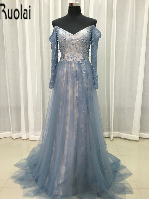 841252b3b Real Sample Beading Crystal A-Line Formal Tulle Evening Dress Lace V-Neck  Off the Shoulder Long Sleeve Evening Gown Front Split