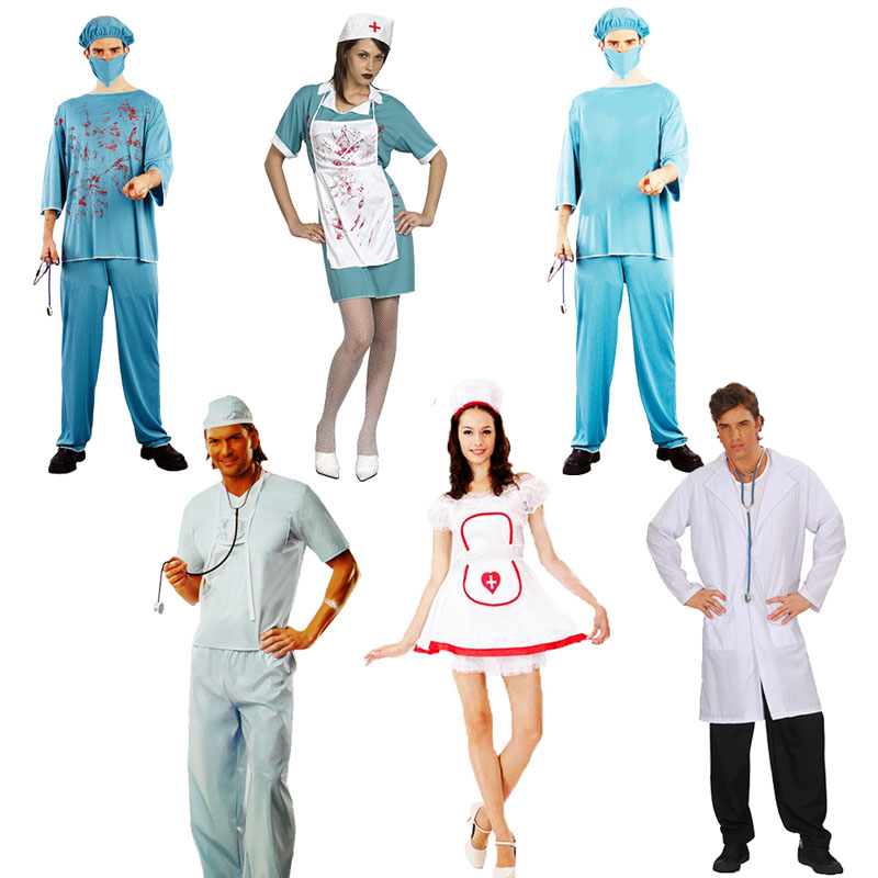 2018 Adults Doctor Nurse Bloody Chef Cosplay Costume Uniform For Men Women Halloween Party Fancy Dress Decoration Purim