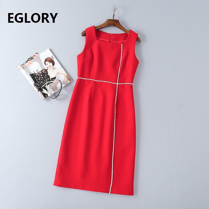 New Korean Fashion Dress 2018 Spring Summer Ladies Crystal Beading Solid Red Black Color Sleeveless Basic Dress Beautiful Womans