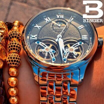 Binger Mens Steampunk Mechanical Automatic Watches Retro Bronze Skeleton Self Widing Leather Watch Men Relogio Masculino 2017 retro hollow skeleton automatic mechanical watches men s steampunk bronze leather brand unique self wind mechanical wristwatches