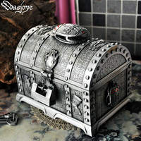 Big Size Metal Tumblebug Home Decoration Box with Lock 2 Layers Vintage Jewelry Box Carrying Case Trinkets Packaging for Ring