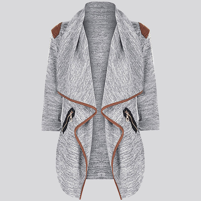 MUQGEW Knitted Casual Cardigan Jacket with Ruffles