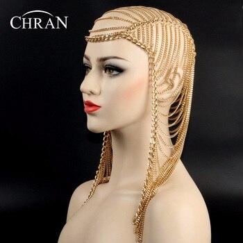 Chran 3 colores lujo moda mujer estilo punk de múltiples capas cadena para cabeza metálica joyería para la frente diadema pelo pieza cuerpo joyería HDCJ104