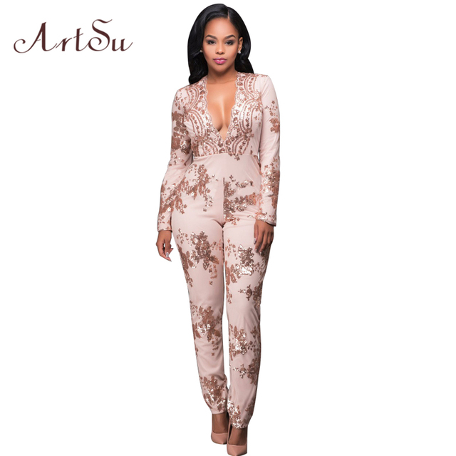 df1b9d4cb6 ArtSu Women Sexy Rompers Gold Sequin Jumpsuit Long Sleeve Sexy Bodysuits  Club Overalls Deep V Neck
