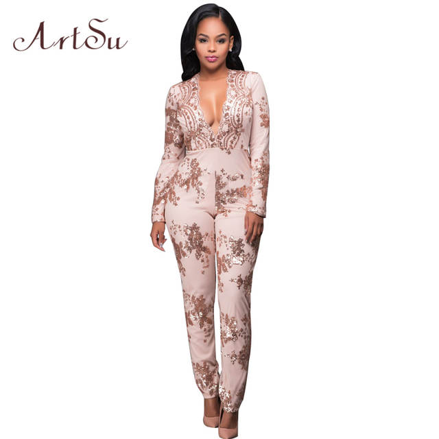 4cec654887 Online Shop ArtSu Women Sexy Rompers Gold Sequin Jumpsuit Long Sleeve Sexy  Bodysuits Club Overalls Deep V Neck One-Piece Playsuit ASJU20032