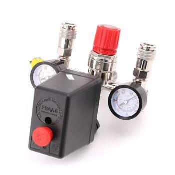 цена на 1 Set Air Compressor Pressure Control Switch Valve 0.5-1.25MPa with Manifold Regulator Gauges