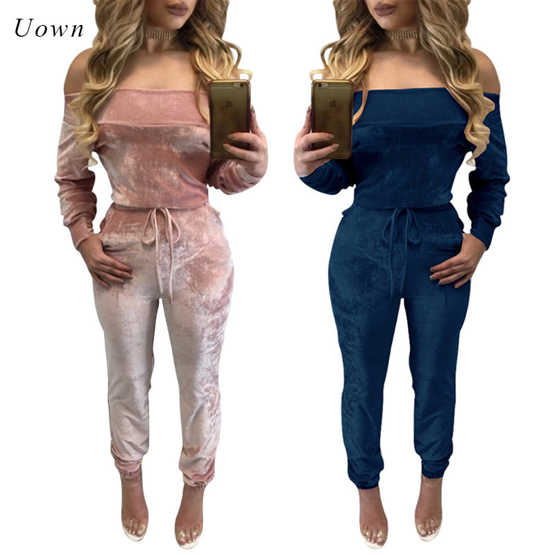 One Piece Romper Women Jumpsuit 2018 Autumn Winter Long Sleeve Drawstring Pants Romper Off the Shoulder Velvet Jumpsuit Outfit