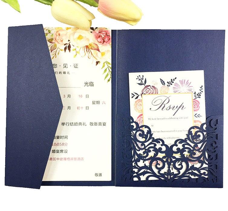 Free Drop Shipping 50X Gold Dark blue Laser Cut tri fold Wedding Invitation Cards Kit Personalized