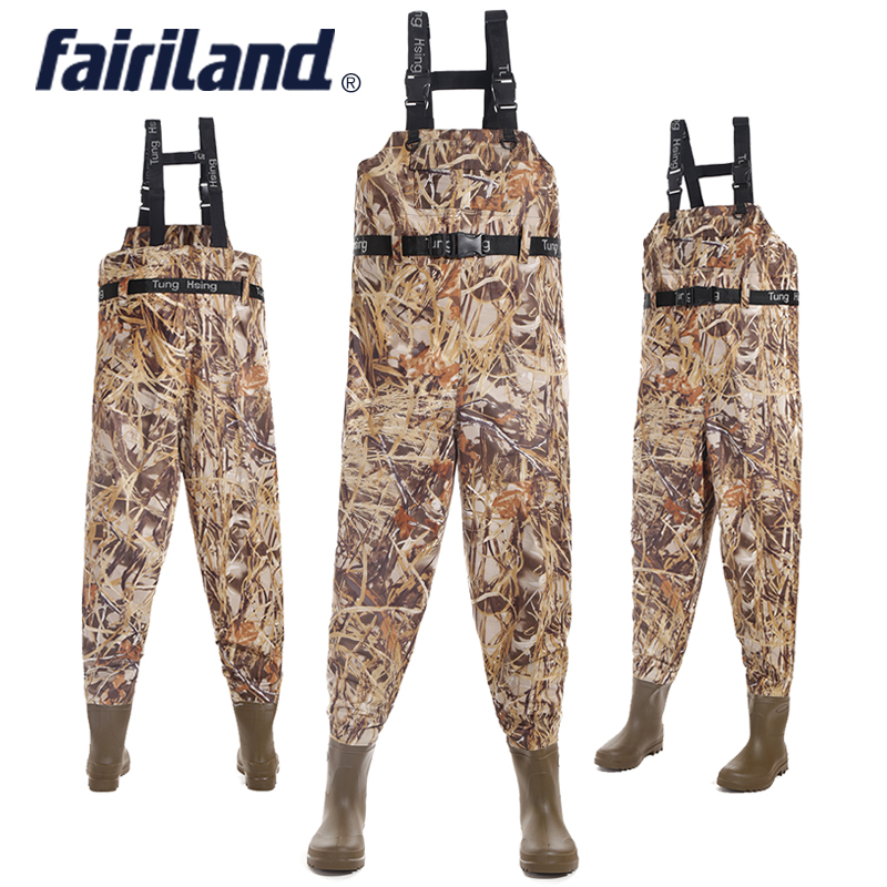 все цены на 41-46 size Chest-high wader with wading boots Taiwan Nylon shell PVC linning fishing waders fly fishing gear bootfoot wader