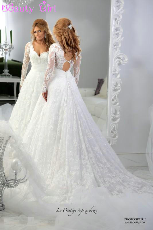 Winter Wedding Dresses with Lace Sleeves