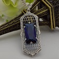 Wholesale free shipping promotion authentic fashion classic ms 925 sterling silver sapphire pendant carved antique style