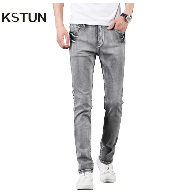 KSTUN Jeans Men Gray Stretch Slim Fit Vintage Spring and Autumn High Quality Yong Boys Denim Pants Men's Clothing 2019 Trendy