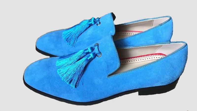 Qianruiti Men Casual Shoes Slip on Loafers Fringed Flat Tassel Shoes for Men EU39 EU46 Black Yellow Purple