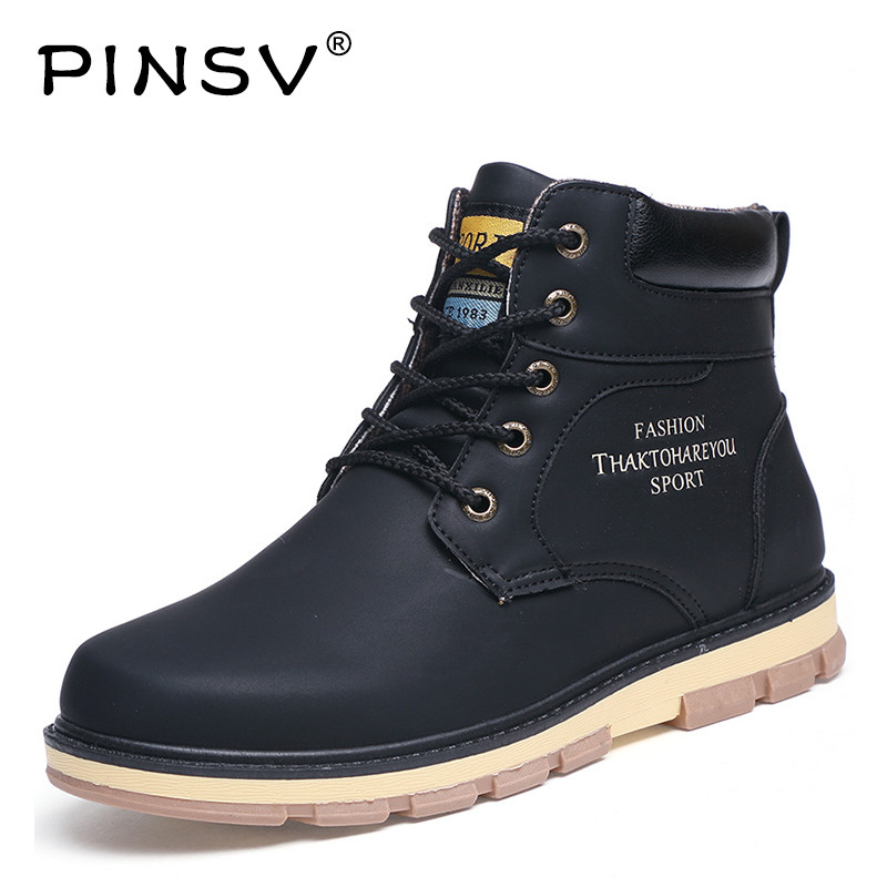 PINSV Work Boots Men Shoes High Top Mens Boots PU Leather Ankle Boots For Men Safety Shoes Autumn Bota Masculina Size 39-46 pinsv british style mens chelsea boots elegant slip on men ankle boots pu leather trendy casual shoes men size 39 44