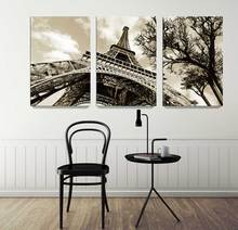 3 IN 1 Famous architecture Eiffel Tower canvas painting Wall art Giclee art Wall pictures for living room Unframed