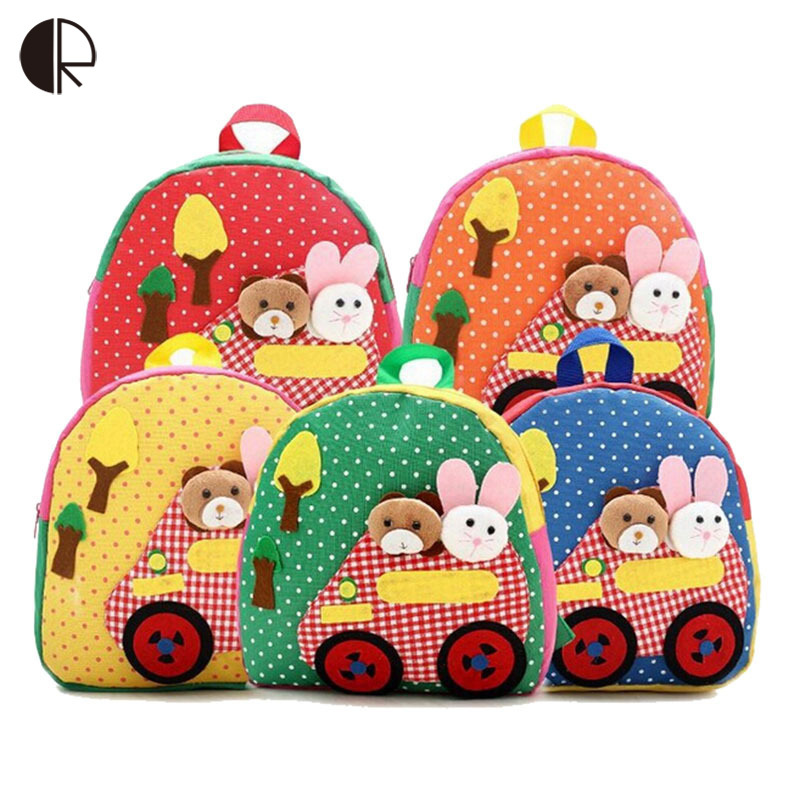 New Cute Kids School Bags Cartoon Animal Applique Canvas Backpack ...