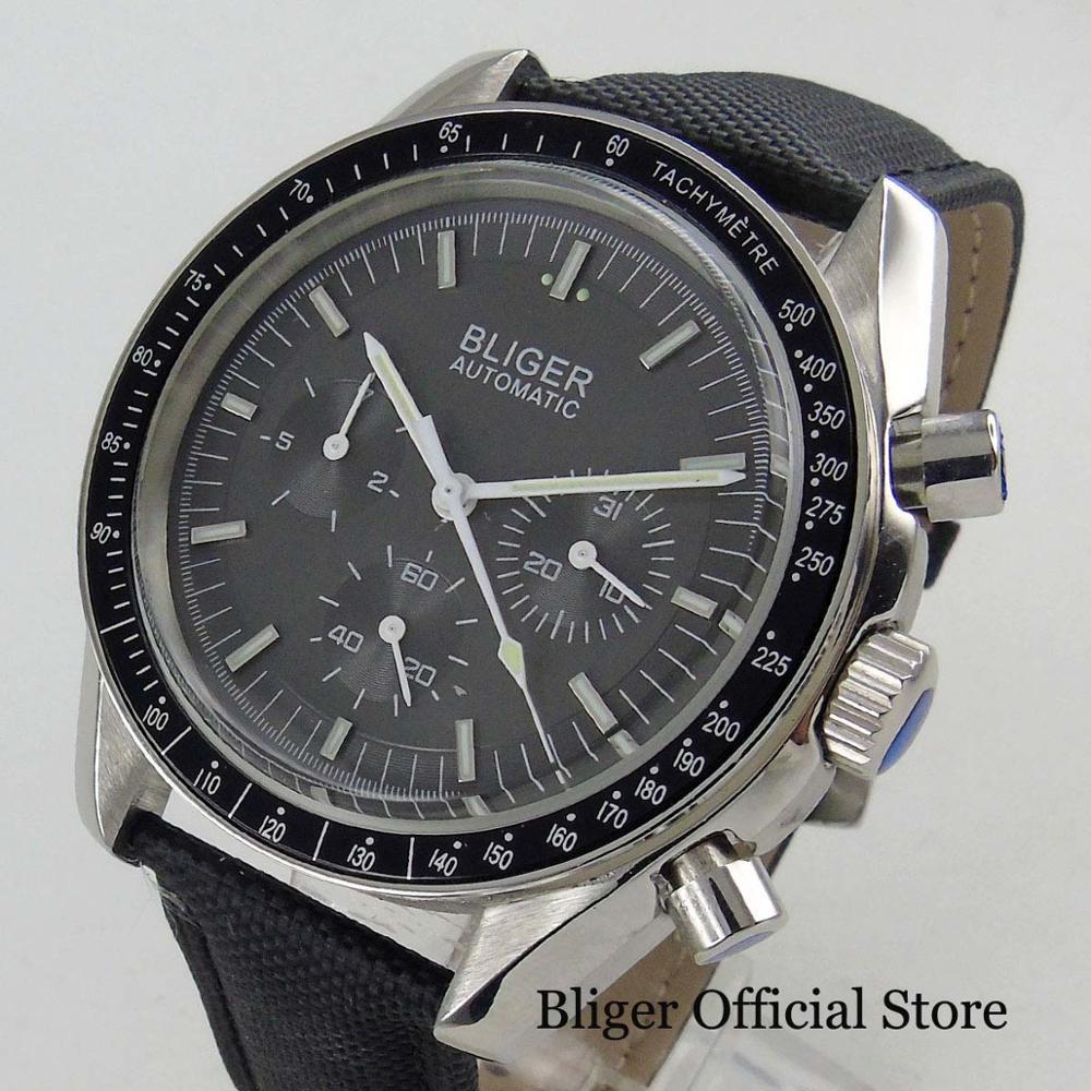 높은 품질 드레스 40mm 남자 시계 자동 남자 시계 가죽 스트랩 그레이 다이얼-에서기계식 시계부터 시계 의  그룹 1
