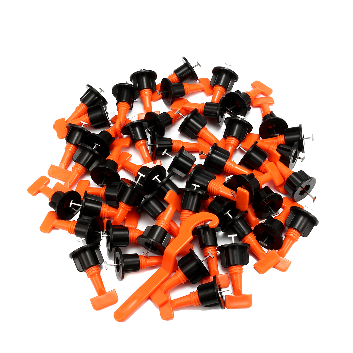 50Sets/Bag Plastic Ceramic Leveler Tools T Shaped Leveling System Kits For Tiles Reusable T Leveling Locator System Tile Spacers 100 caps 250 clips 1 plier ceramic accessories livellamento floor spacers leveler tiles tools tile leveling system with tool