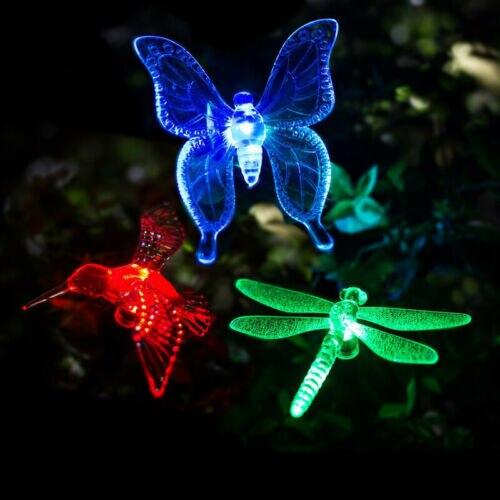Butterfly Dragonfly Solar Power LED Light Outdoor Garden Lawn Lamp Decor-3PCs