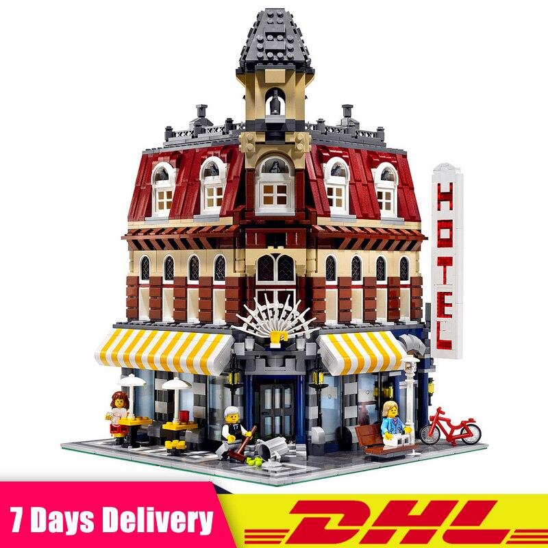 Compatible LegoINGlys 10182 LEPIN 15002 2133Pcs Cafe Corner City Street Model Building Blocks Bricks Figures Modular Set Toys