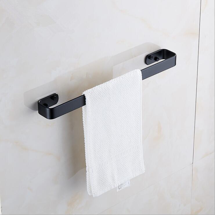 Solid Space Aluminum Black Towel Bar Single Towel Rack Bathroom Matte Black Wall Mounted Towel Holder 20/30/40/50/60 Cm