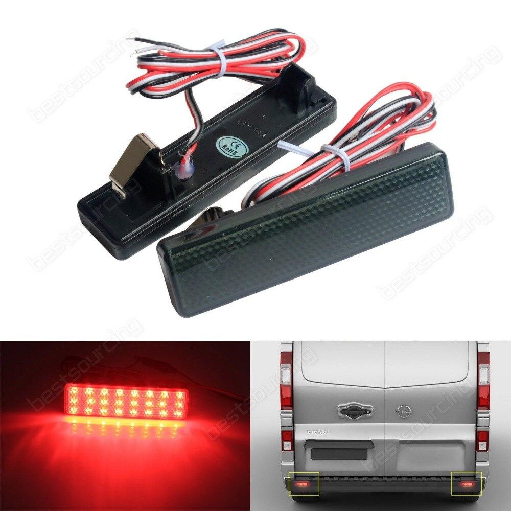 For Vauxhall / Opel Vivaro Movano Black Lens Rear Bumper Reflector LED Tail Stop Light(CA327) накладка на задний бампер opel vivaro 2001
