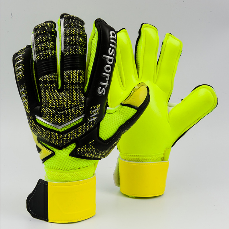 Kids Men Professional Soccer Goalkeeper Gloves Strong 5 Finger Save Protection Thicken Latex De Futebol Goalie Goal Keeper Glove(China)