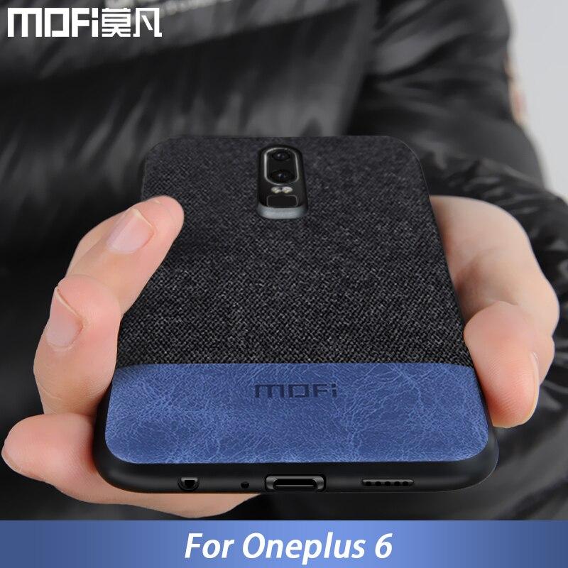 Oneplus caso 6 caso cubrir una plus 6 cubierta de silicona borde de los hombres de negocios de tela a prueba de golpes caso coque MOFi original 1 + 6 caso