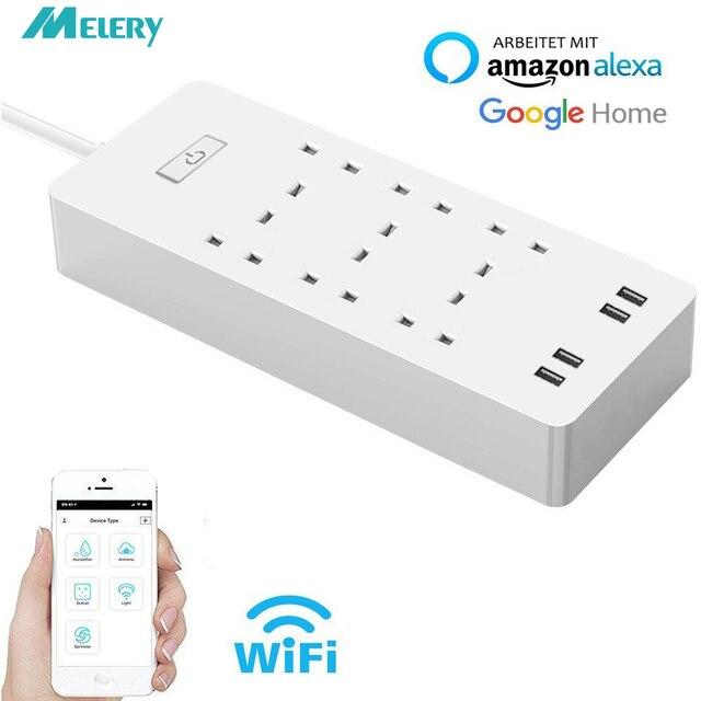 Akıllı WiFi güç şeridi dalgalanma koruyucusu 6 AC İngiltere fiş çıkışları prizler USB uzaktan kumanda ile Homekit çalışma Alexa, google ev