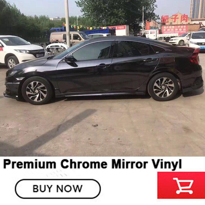 Très extensible Chrome Miroir Vinyle Wrap Film pour la voiture feuille avec Bulle d'air colle À L'importation chrome miroir en acier de tungstène noir - 4
