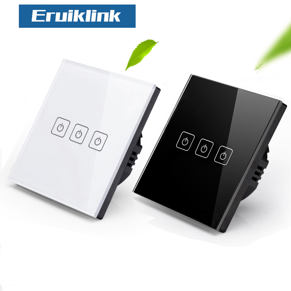 EU/UK Standard Eruiklink Touch Switch 3 Gang 1 Way,Wall Light Touch Screen Switch,Crystal Glass Switch Panel, Lamp Touch Switch 2017 new arrived uk wall switch ivory white crystal glass panel vl c301 61 light touch switch 1 gang 1 way