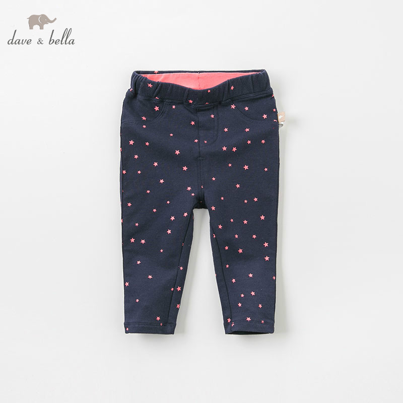 DB9223 dave bella autumn baby girl fashion pants children full length kids pants infant toddler trousers