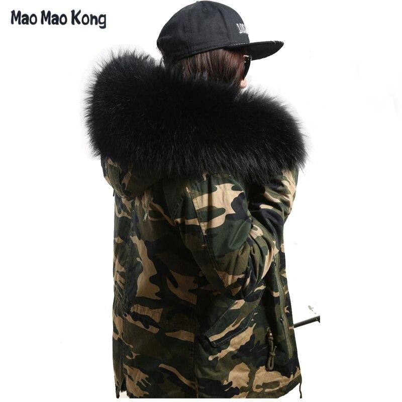2018 women winter camo parkas large raccoon fur collar hooded coat outwear  2 in 1 detachable lining winter jacket brand style c844f70763