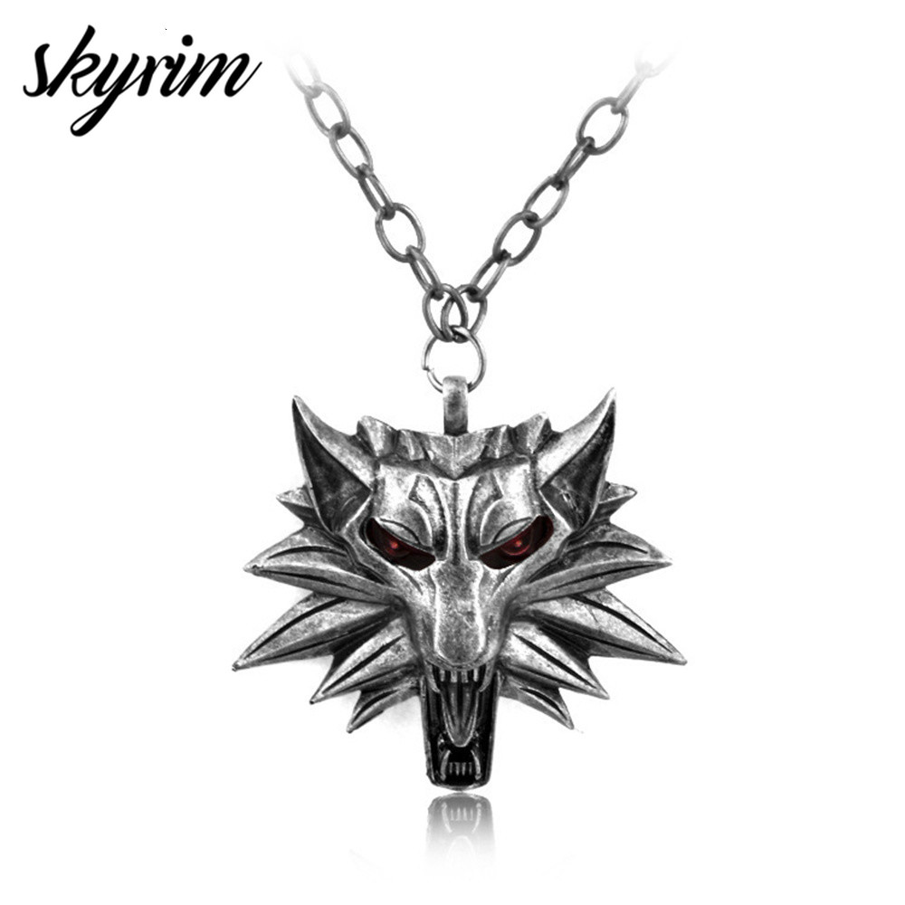 Skyrim Cool Vintage Jewelry Fierce Wolf Head Badge Pendant Necklace Sweater  Lobster Clasp Chain Link Fashion Men's Necklace
