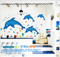 Free Shipping AY9168 Removable Wallpaper Ocean Series Bathroom Decoration Dolphins Vinyl Wall Stickers