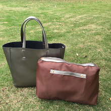 Fine Vegan Leather Gold Tote With Detachable Pouch , Solid Silver PU Tote Portfolio With Inside Zipper Pouch DOM-1010460