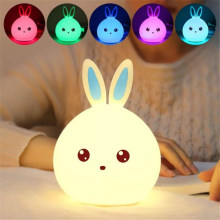 USB Charging Remote Control Night Light Creative Cute Rabbit Silicone Lamp Children's Bedroom Pat Light Change 7 Color Cute Gift(China)