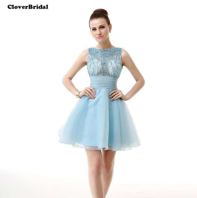 1351ab6df CloverBridal 2017 summer mini organza light blue illusion rhinestone short  dress with bow-tie homecoming dresses A-line