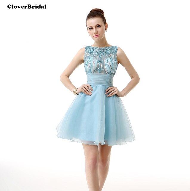 1497c72ca639a6 CloverBridal 2017 zomer mini organza lichtblauw illusion rhinestone korte  jurk met strikje homecoming jurken A-