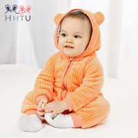HHTU 2018 Infant Romper Baby Boys Girls Jumpsuit Newborn Clothing Hooded Toddler Baby Clothes Cute Bear