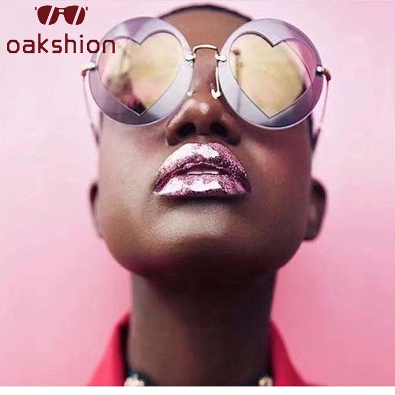 Oakshion Women New Fashion Heart Love Lens Round Sunglasses Female Men Vintage Steampunk Oversized Frame Sun Glasses Shades 2018