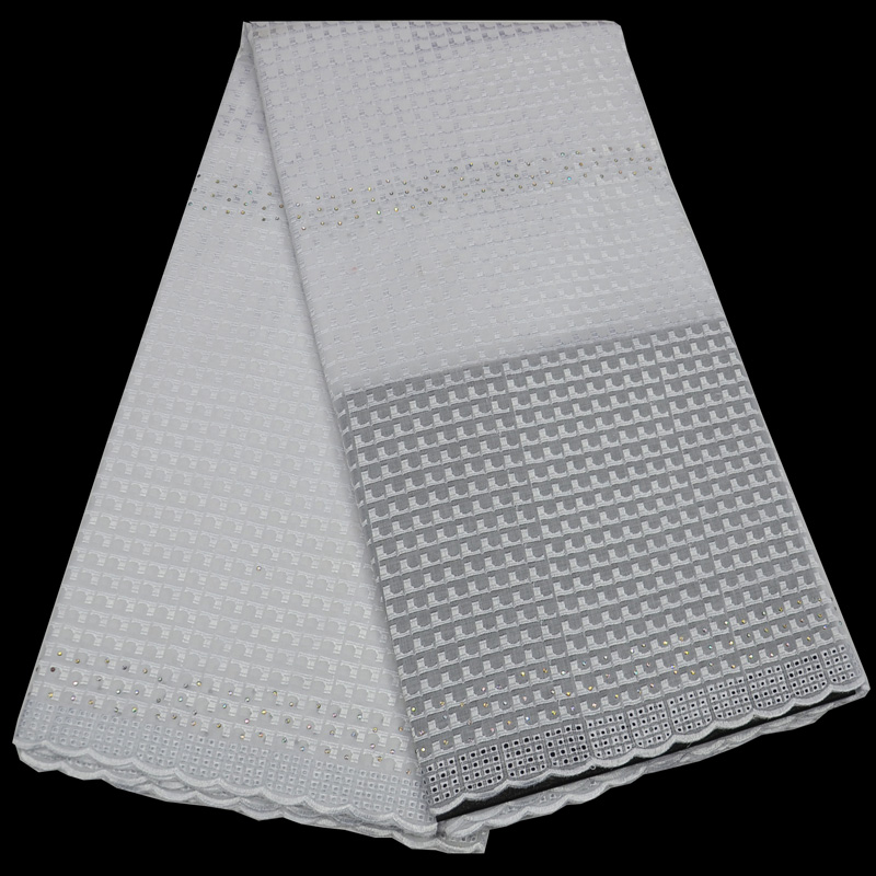 Бесплатная доставка (5 ярдов/шт) новое поступление чистый белый Африканский хлопок кружевной ткани с камнями для элегантных праздничное пла...