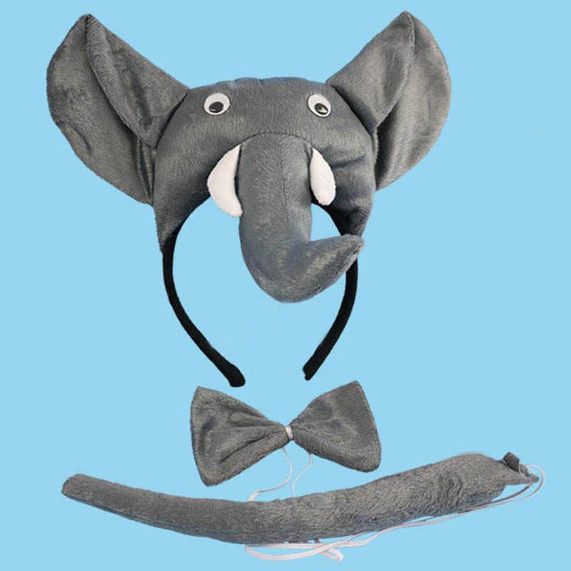 Niños adultos cinta de elefante Animal corbata Cosplay Tail Props fiesta Halloween disfraz para niños Baby shower navidad